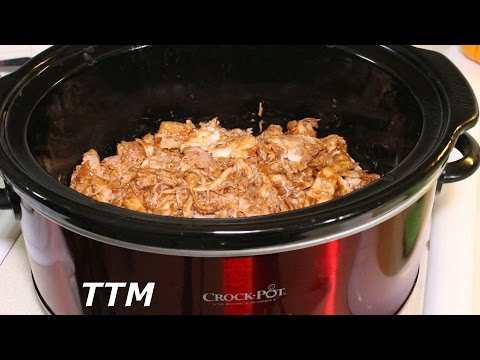 Boneless Skinless Chicken Thighs in the Crock Pot~BBQ Chicken Slow Cooker Recipe~Chicken Sandwich