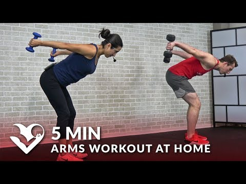 5 Min Arms Workout at Home with Dumbbells - Biceps and Triceps 5 Minute Arm Workout for Women & Men