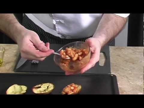 BAKED BEANS WITH CHEESE IN POTATO SKIN #057