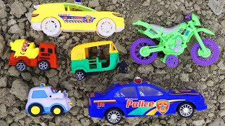 Looking for toy vehicles in a abandoned rooftop and collecting toys in a box