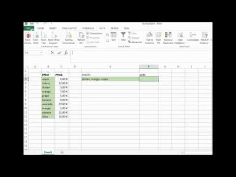 Sum multiple values from data validation list/ Excel 2013