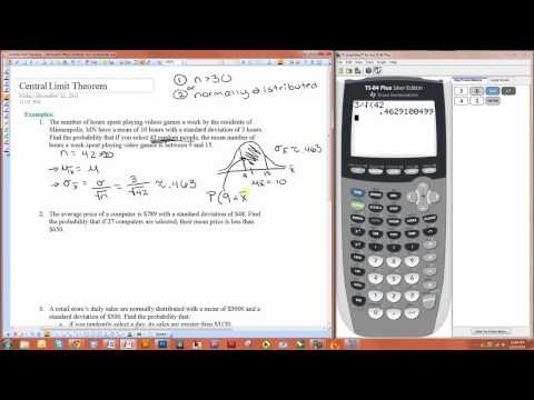 Using the Central Limit Theorem to Find Probabilities with the TI-84