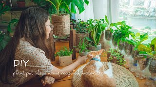 #28 How To Reuse Waste Material To Make Plant Pots | DIY Plastic Bottle Recycling, Make Cement Pot