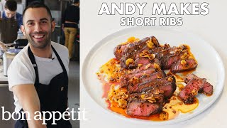 Andy Makes Short Ribs with Crispy Garlic and Chile Oil   From the Test Kitchen   Bon Appétit