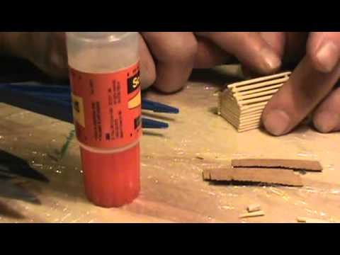 N scale toothpick log cabin build
