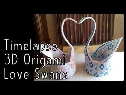 Timelapse 3D Origami Love Swans