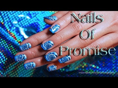Blue Swirl Live Nail Art Tutorial. Nails Of Promise.