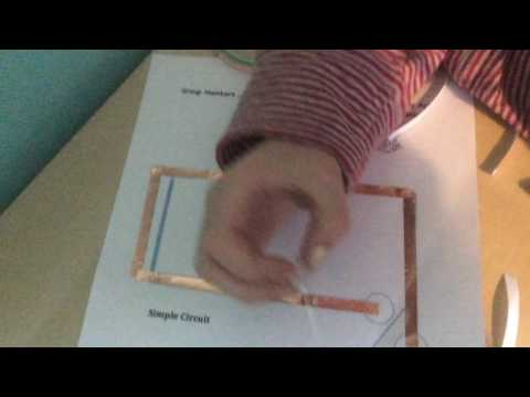 How to make a simple circuit with copper tape, LED and a battery