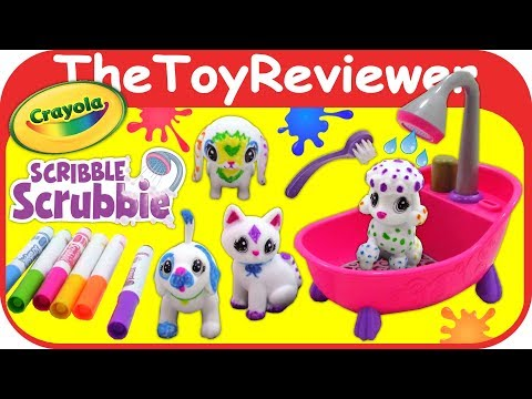 Crayola Scribble Scrubbie Pets Scrub Tub Playset Bath Color Unboxing Toy Review by TheToyReviewer