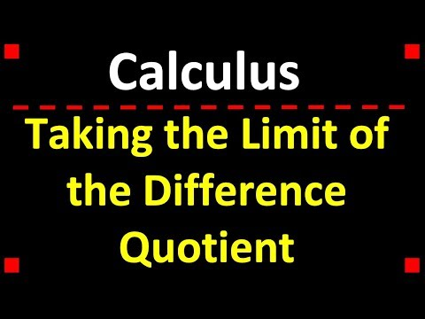 Calculus: Taking the Limit of the Difference Quotient