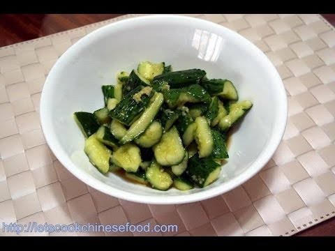 Chinese Recipe : Shredded  Cucumber with Garlic and Vinegar
