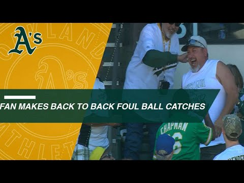 A's fan makes back-to-back foul ball catches