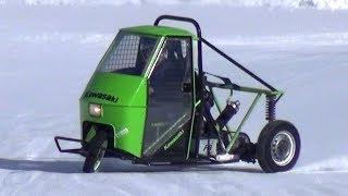 APE Car Drifting on Snow w/ Motorbike Engines Swap! - Livigno Ice Track!