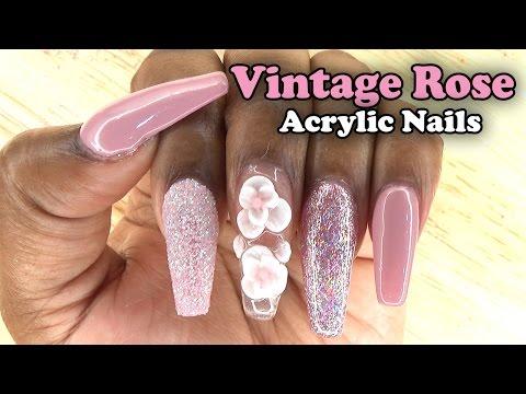 Vintage Rose Acrylic Nails w/ Sugar Glitter | Naio Nails Gel Polish | LongHairPrettyNails