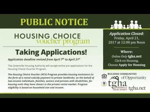 Greenville Housing Authority - Housing Choice Vouchers – Applications Close April 21st, 2017