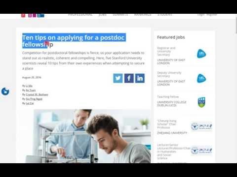 10 Tips on Applying For a Postdoc Fellowship 2017