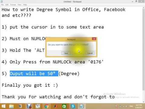 How to Write Degree Symbol in Facebook, Word, Powerpoint or any TextArea