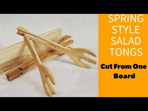 Hand Made Salad Tongs Cut From One Board