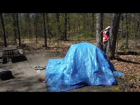 Camping in Algonquin Provincial Park Campground 84 Canisbay Bay Lake - how to built a tent
