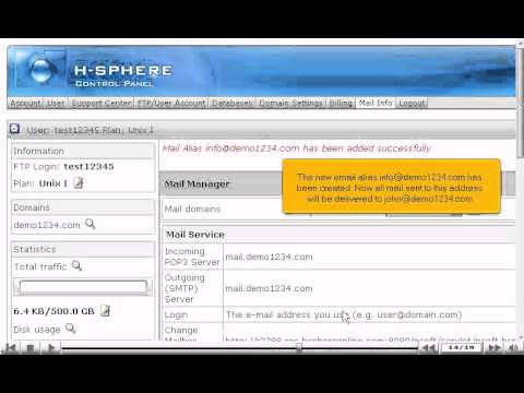How to create an email alias in H-Sphere
