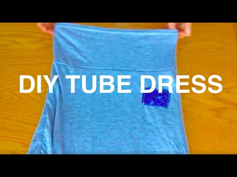 How to make a Sexy Strapless Dress from t shirt no Pattern - DIY Sewing Transformation Tutorial