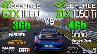 GTX 1050 Ti 4Gb vs GTX 1060 3Gb Test in 8 New Games