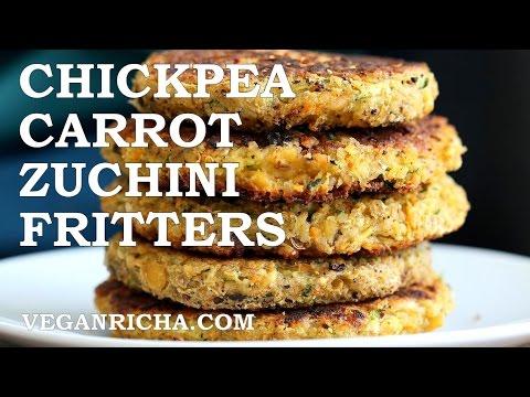 Carrot Zucchini Chickpea Fritters - VeganRicha.com