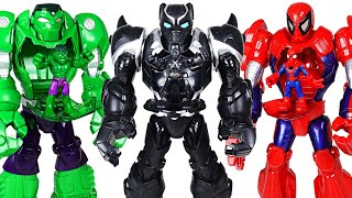Marvel Black Panther Mech Armor suit! Crush the dinosaurs and help Hulk, Spider Man! | DuDuPopTOY