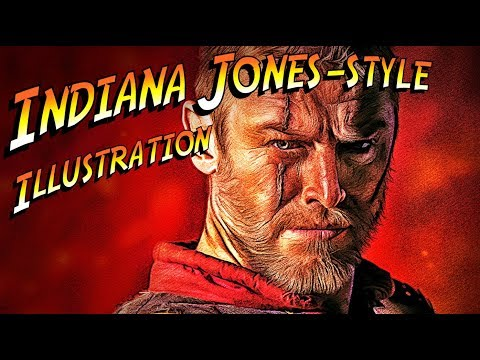 "Photoshop: How to Quickly Create a Classic, ""Indiana Jones"" Style Movie Poster Illustration."