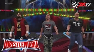 """WWE 2K17 Recreation: """"Stone Cold"""",Shawn Michaels and Mick Foley returns at Wrestlemania 32"""
