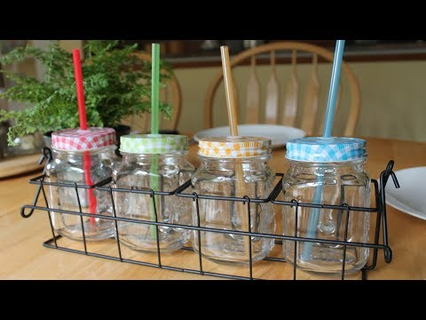 Glass Mason Jar Mugs and Rack Set ~ Review(giveaway over)