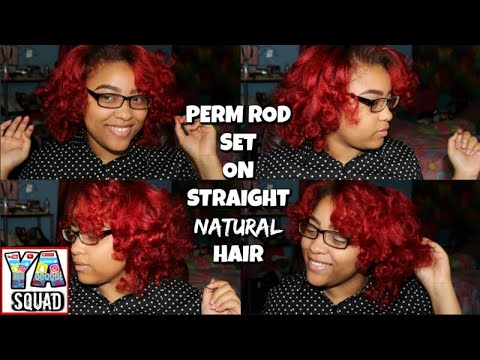 PERM ROD SET ON STRAIGHT NATURAL HAIR! BIG RED CURLY HAIR