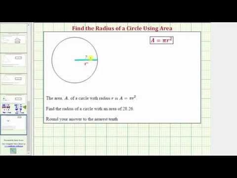 Ex: Find the Radius of a Circle Given the Area