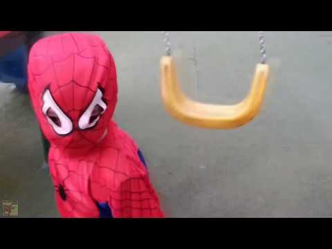 Children Playing In The Park Young SPIDERMAN Roundabouts Swing Slide SeeSaw 2