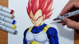 How To Draw Vegeta Super Saiyan God - Step By Step Tutorial!