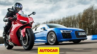 Drag race: Audi R8 vs Ducati Panigale V4 | Car vs Bike | Autocar