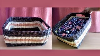 How to make basket with newspaper (Weaving Tutorial)