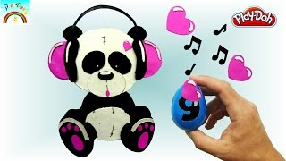 Best Play Doh creation ( cute panda with headphones) -kids video unboxing