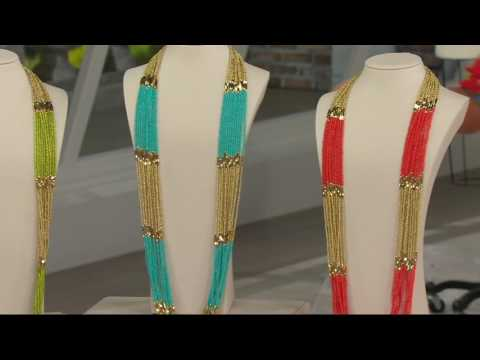 Linea by Louis Dell'Olio Multi Strand Long Bead Necklace on QVC