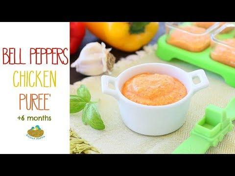 Bell Pepper Chicken puree - baby food recipe +6M