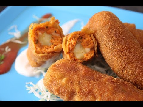 How To Make Fried Chicken Cheese Kabab at Home [Hindi]