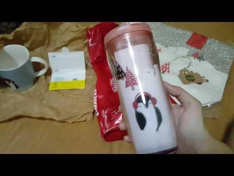Unboxing Starbucks Happy holiday tote, mug,tumbler and mini card