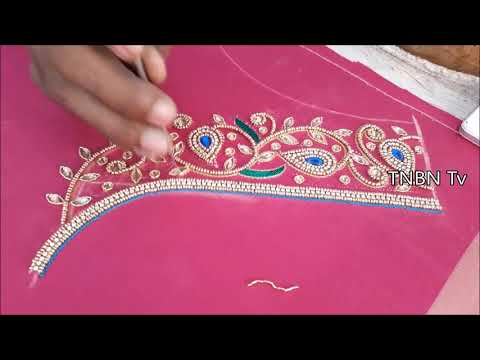latest blouse designs for pattu sarees | hand embroidery tutorial,simple maggam work blouse designs