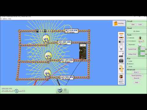 Current and potential difference in series and parallel circuits. PhET simulation