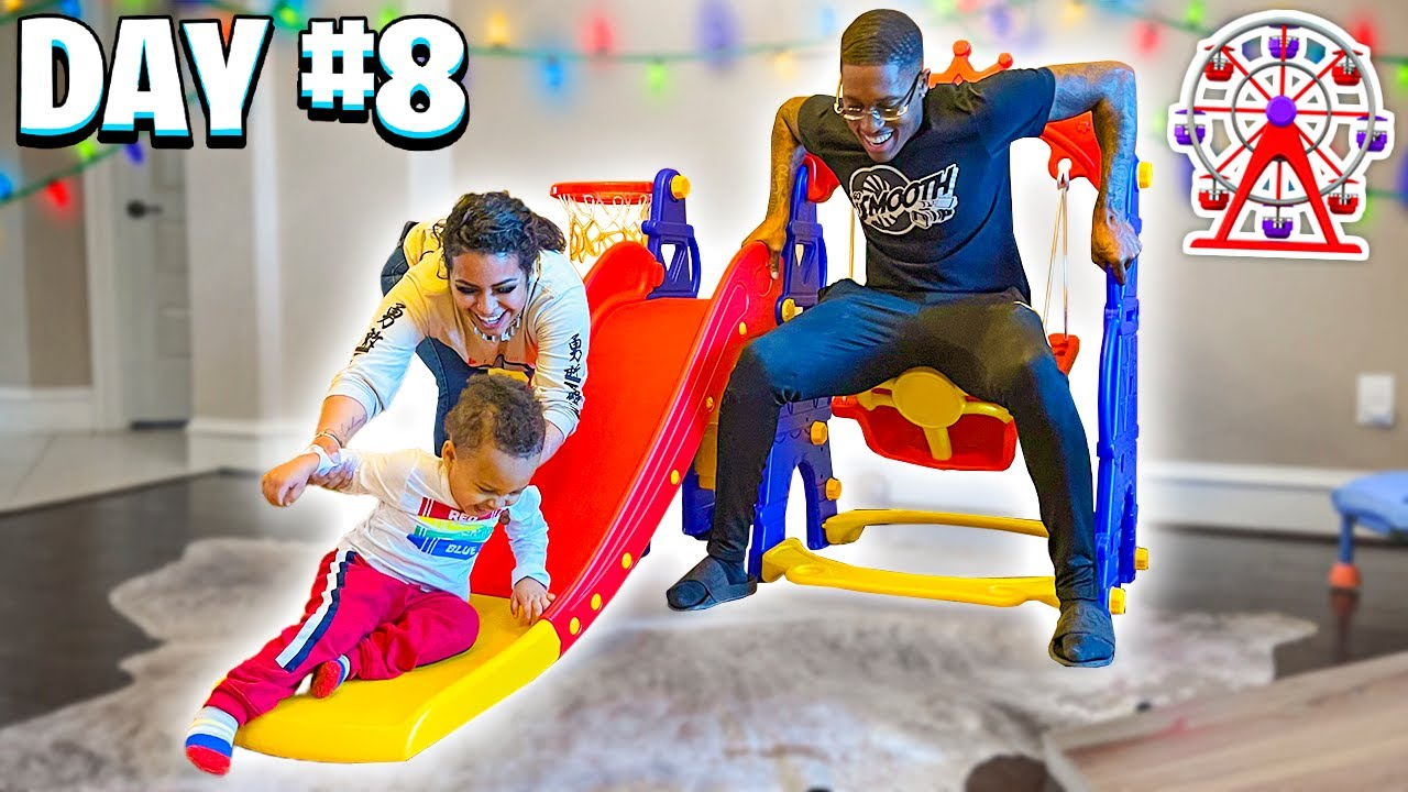 VLOGMAS DAY 8: WE CREATED A INDOORS PLAYGROUND FOR CJ !