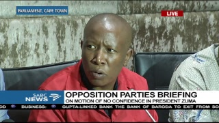 Opposition parties briefing on motion of no confidence in Pres. Zuma