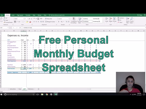 Free Personal Monthly Budget Spreadsheet
