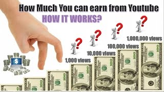 How Much You Earn with 1,000, 10,000, 100,000 and 1 Million views in Youtube