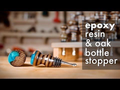 DIY Epoxy Resin & Oak Bottle Stopper w/ Display Stand // Woodturning