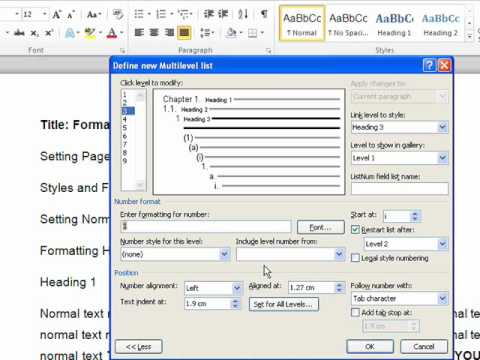 3 Settings Headings and Numeration [Word 2007-10]